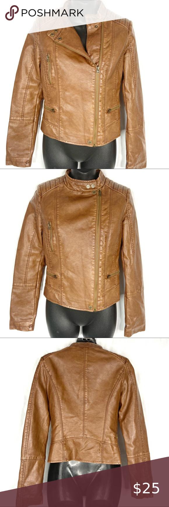 Aeropostale Brown Distressed Look Moto Jacket Xs Brown Faux Leather Distressed Lo Distressed Leather Jacket Faux Leather Jacket Women Faux Leather Biker Jacket [ 1740 x 580 Pixel ]