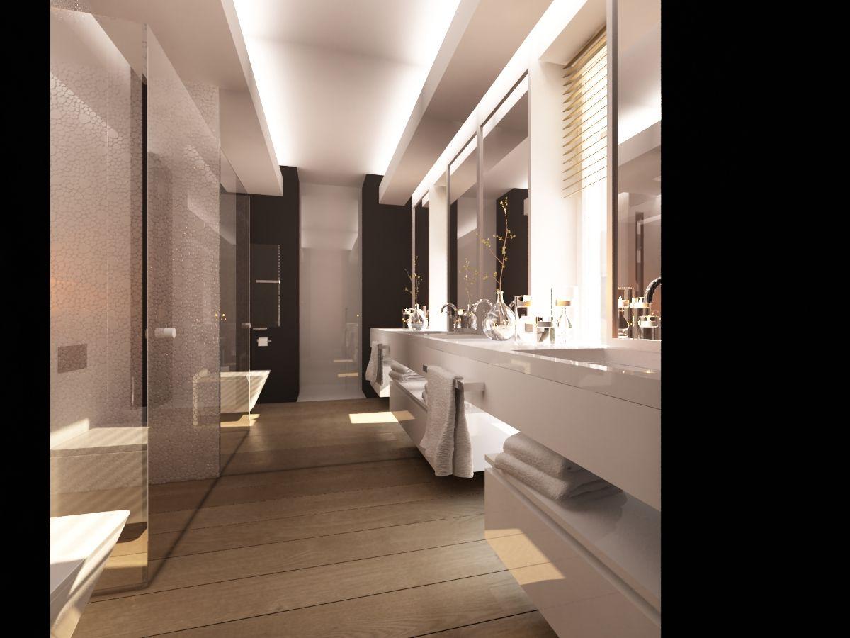 Czarno Biała łazienka Z Elementami Drewna For The Home