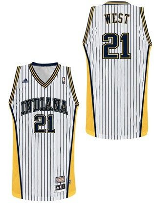 big sale 5feb8 80138 Pacers #21 West Hardwood Classics White Swingman Jersey ...