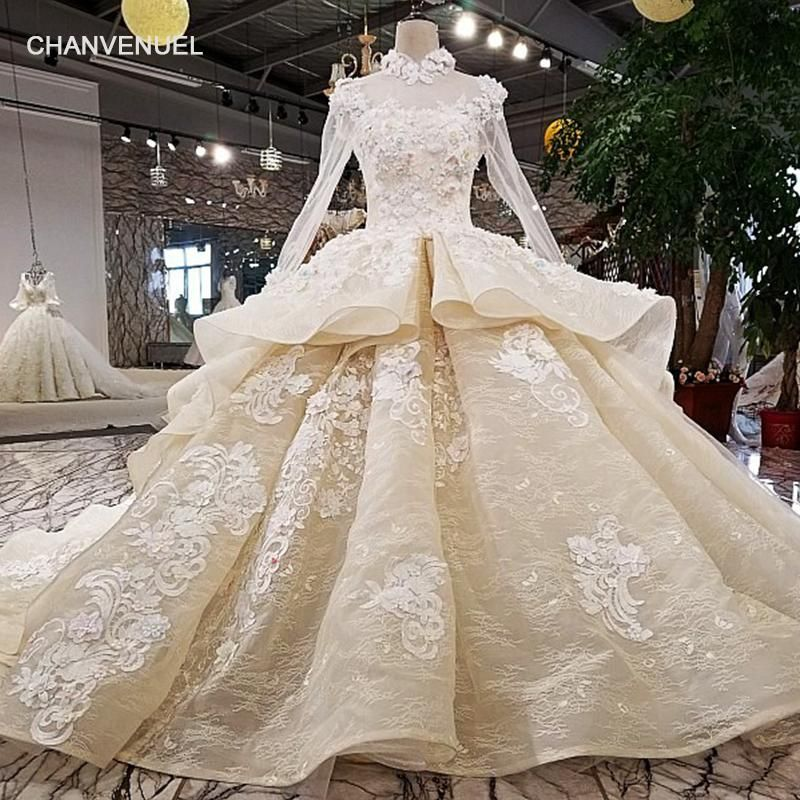 Ball Gown Long Sleeve Beaded Crystal Applique Watteau: LS21769 New Ball Grown Crystal Beaded Bridal Lace