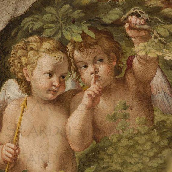 Vintage Baby Angel Illustration Digital Wall Art Download Printable Image