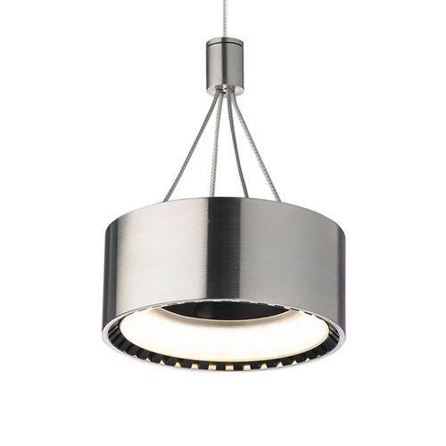 Corum Satin Nickel One-Light LED Mini Pendant with Satin Nickel Stem