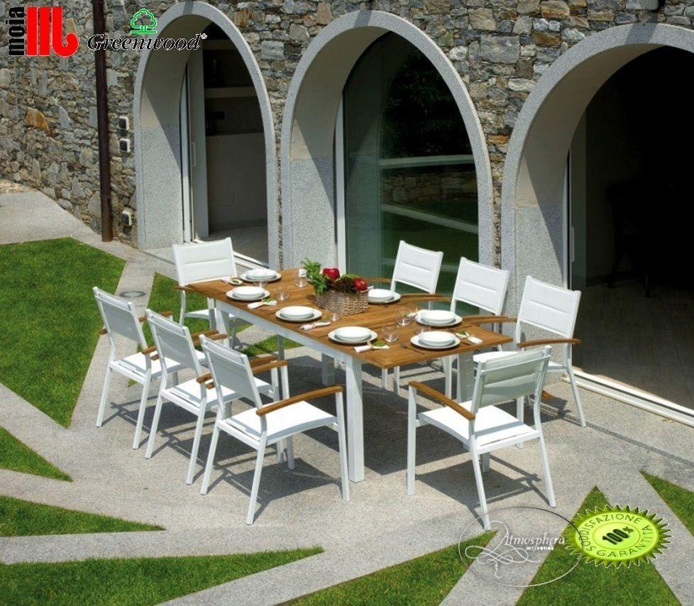 tavolo da giardino allungabile ajaccio in alluminio bianco e legno ... - Tavolo Da Giardino In Legno Teak