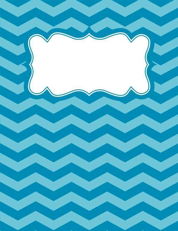 Free printable blue chevron binder cover template. Download the ...