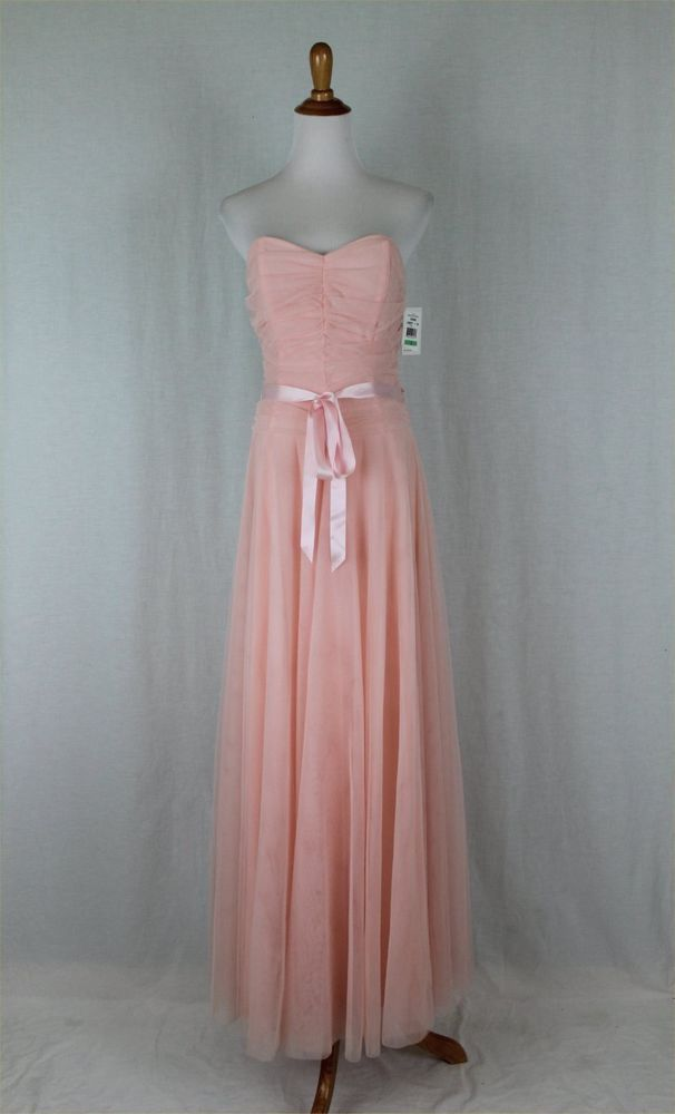 Jessica McClintock Pink Tulle Strapless Gown Prom Dress New With ...