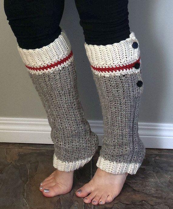 Work Sock Hat Knitting Pattern : Wool sock legwarmers crochet pattern monkey style