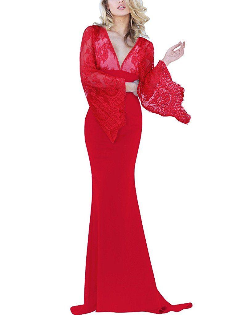BIUBIU Damen Mode Cocktailkleid Hochzeit Langes Abendkleid Spitze ...