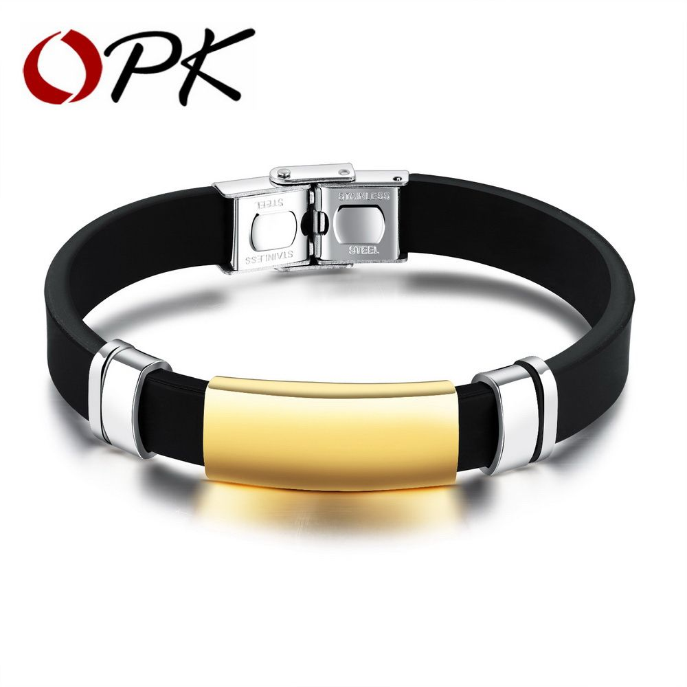 Sport menus silicone bracelets smooth design black champagne gold