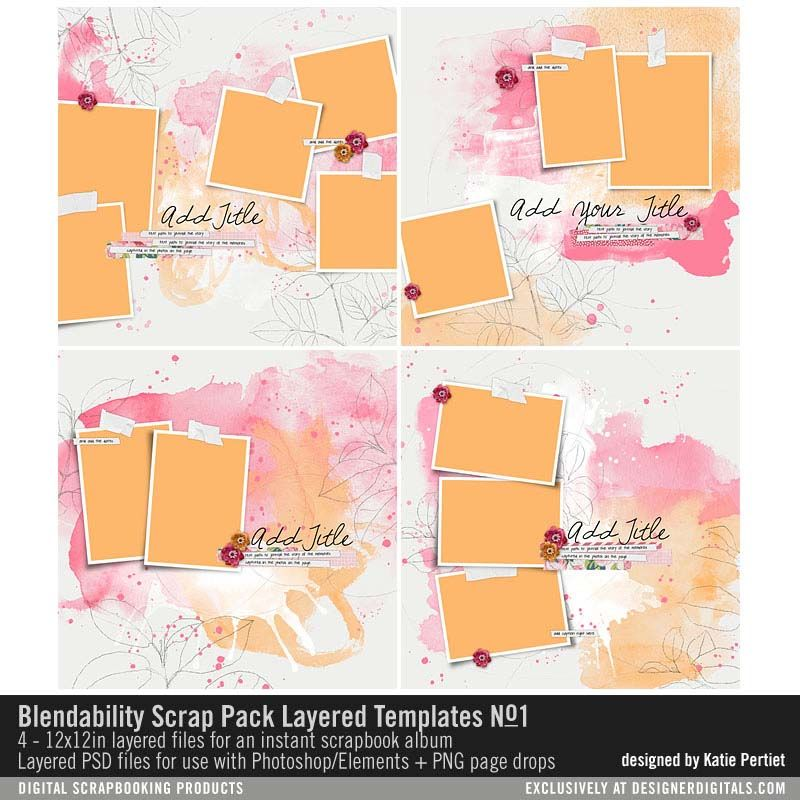Blendability Scrap Pack Layered Templates No 01 Digital Scrapbooking Memory Scrapbook Scrapbook