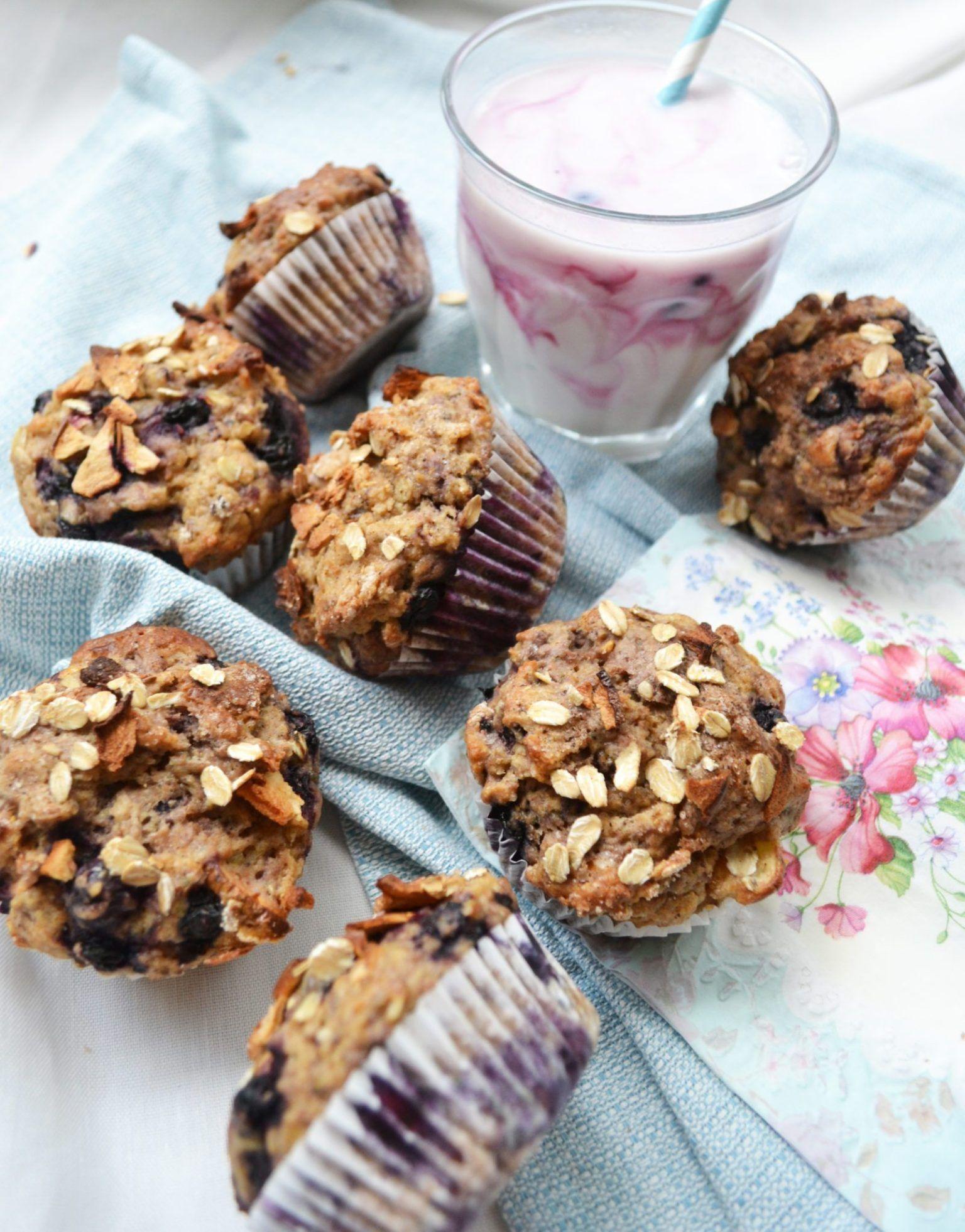 Frühstücksglück! Gesunde Heidelbeer-Apfel-Muffins – meinleckeresleben.com #apfelmuffinsrezepte