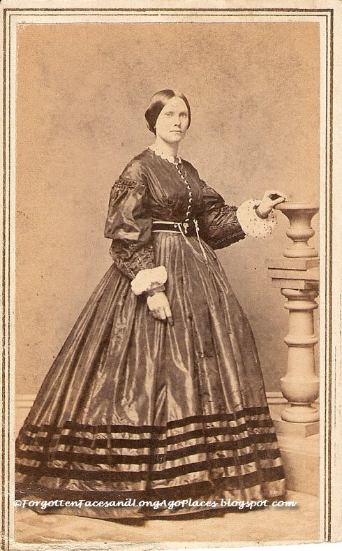"""The unidentified woman was probably wearing her best dress when she posed for photographer """"Tyler"""" of Boston.  http://forgottenfacesandlongagoplaces.blogspot.com/2013/05/fashionable-friday-civil-war-era-boston.html"""