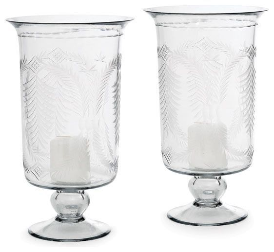 Pair of Tall Etched Hurricanes