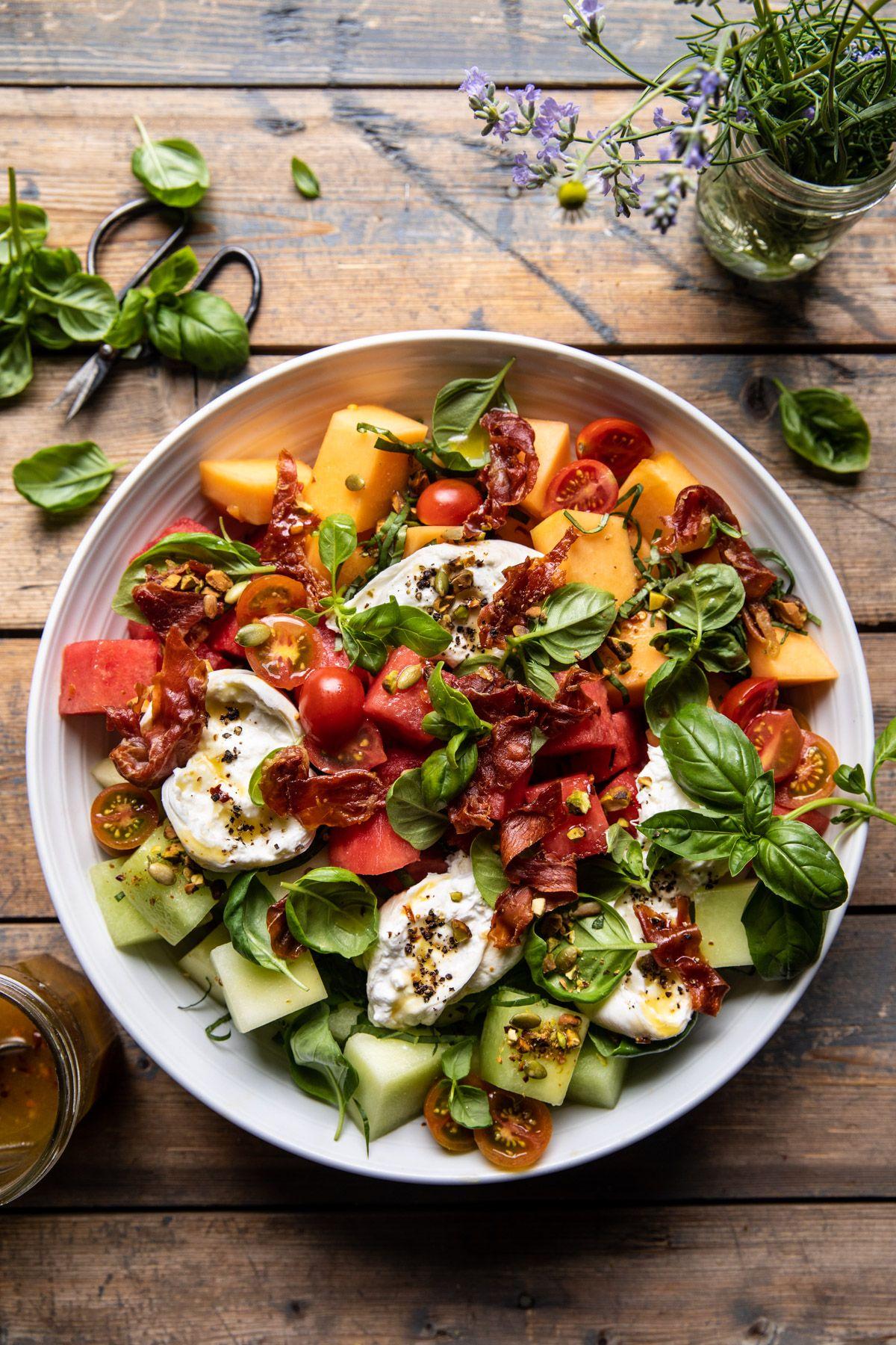 Melon Basil Burrata Salad with Crispy Prosciutto...perfect for summer!