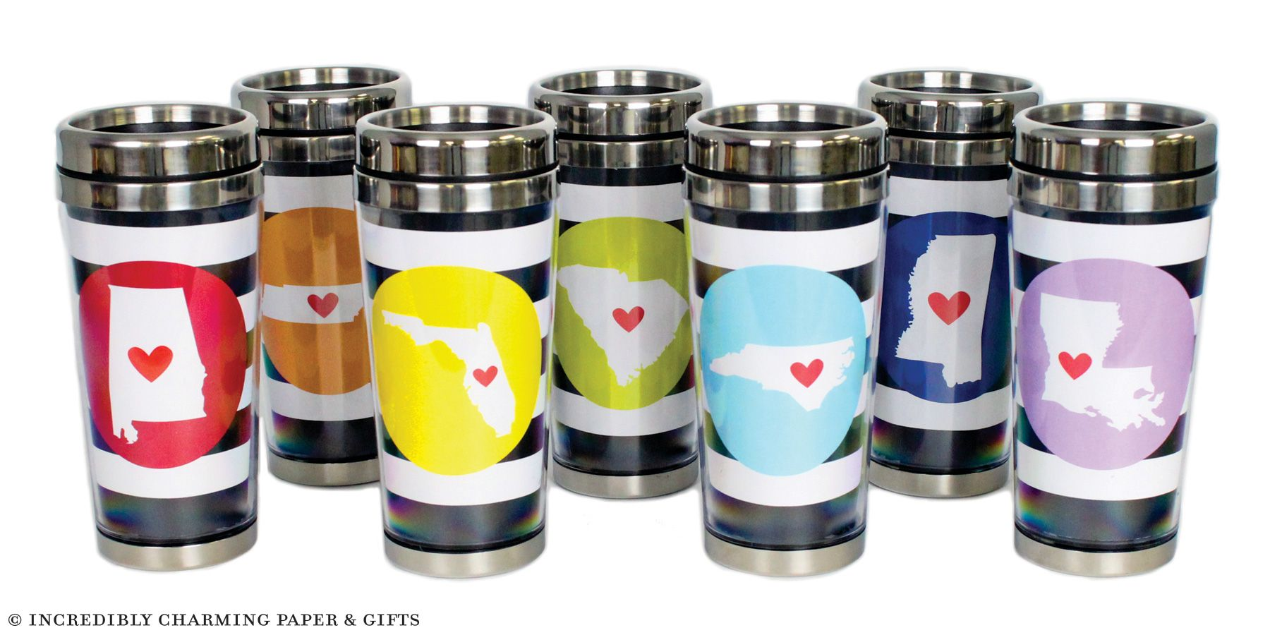 Cabana State Stainless Steel Travel Tumblers. www.incrediblycharming.com