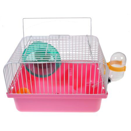 Portable Traveler Hamster Cage with Wheel Pink