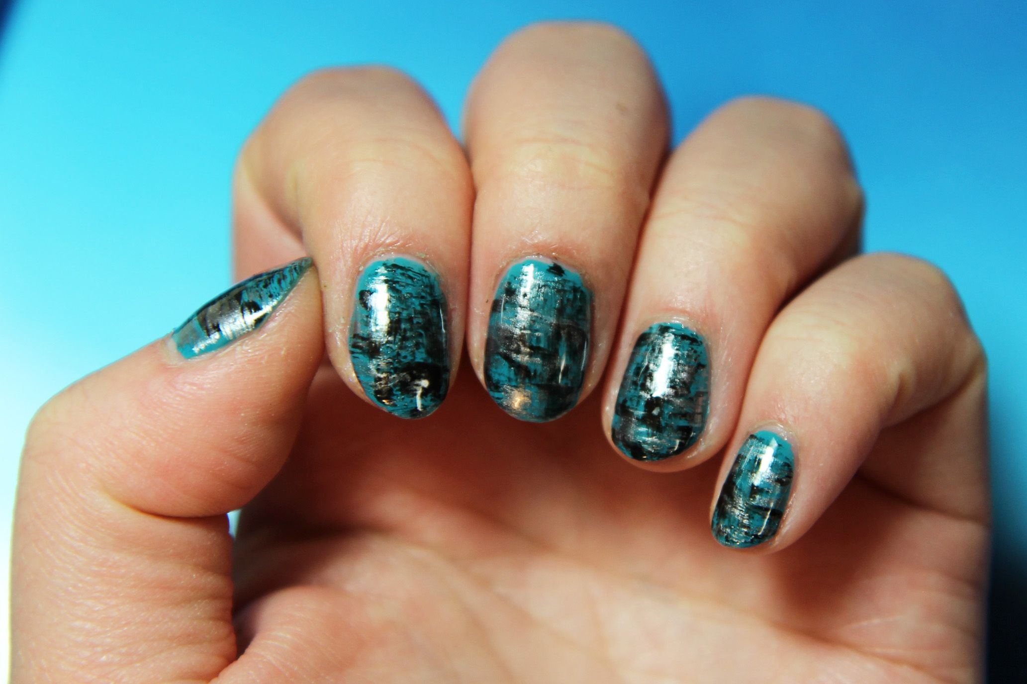 1/20/18 - Blue/silver/black dry brush nails. Polishes used: Essie\'s ...
