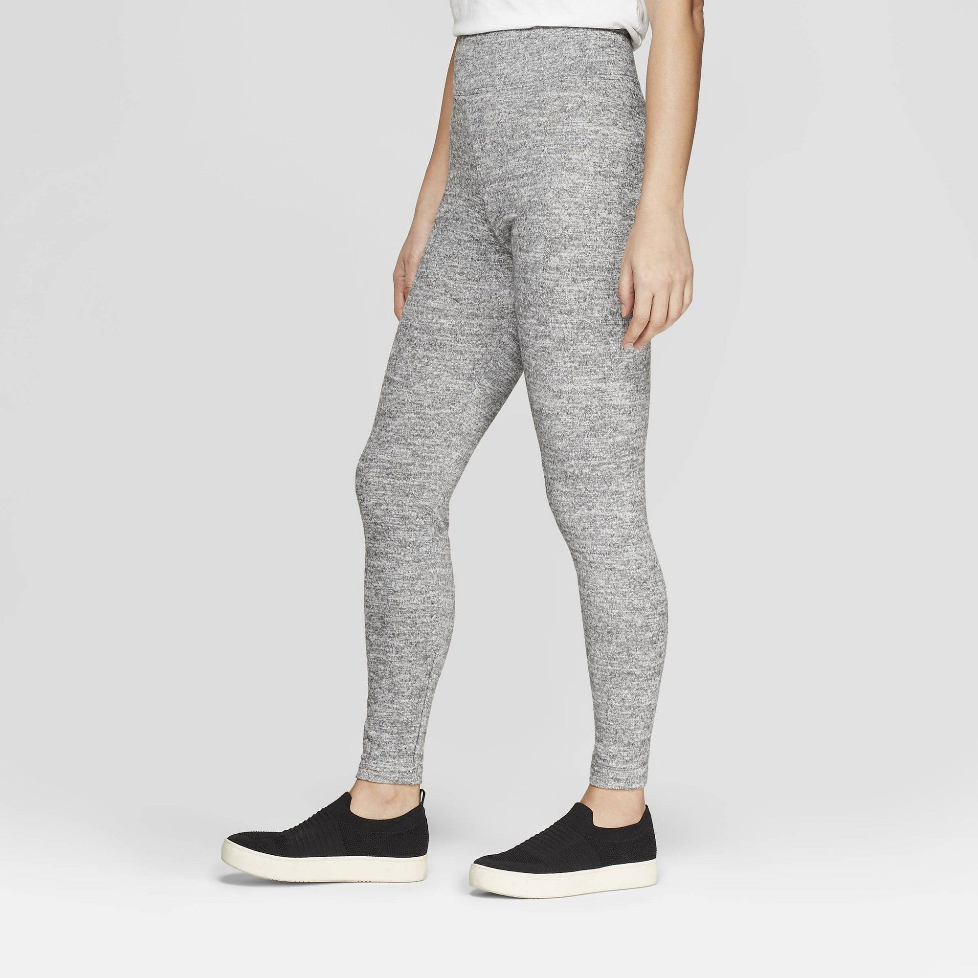 f115992bd8627 Women's Cozy Wide Waistband Leggings - A New Day Heather Gray XL in ...