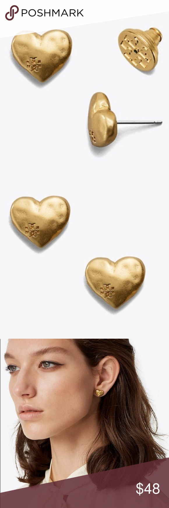 fbda4fa91 Comes with Tory Burch pouch. Show your love with our Heart Stud Earring.  Great for gifting, the style is cast in brass with a vintage-gold ...