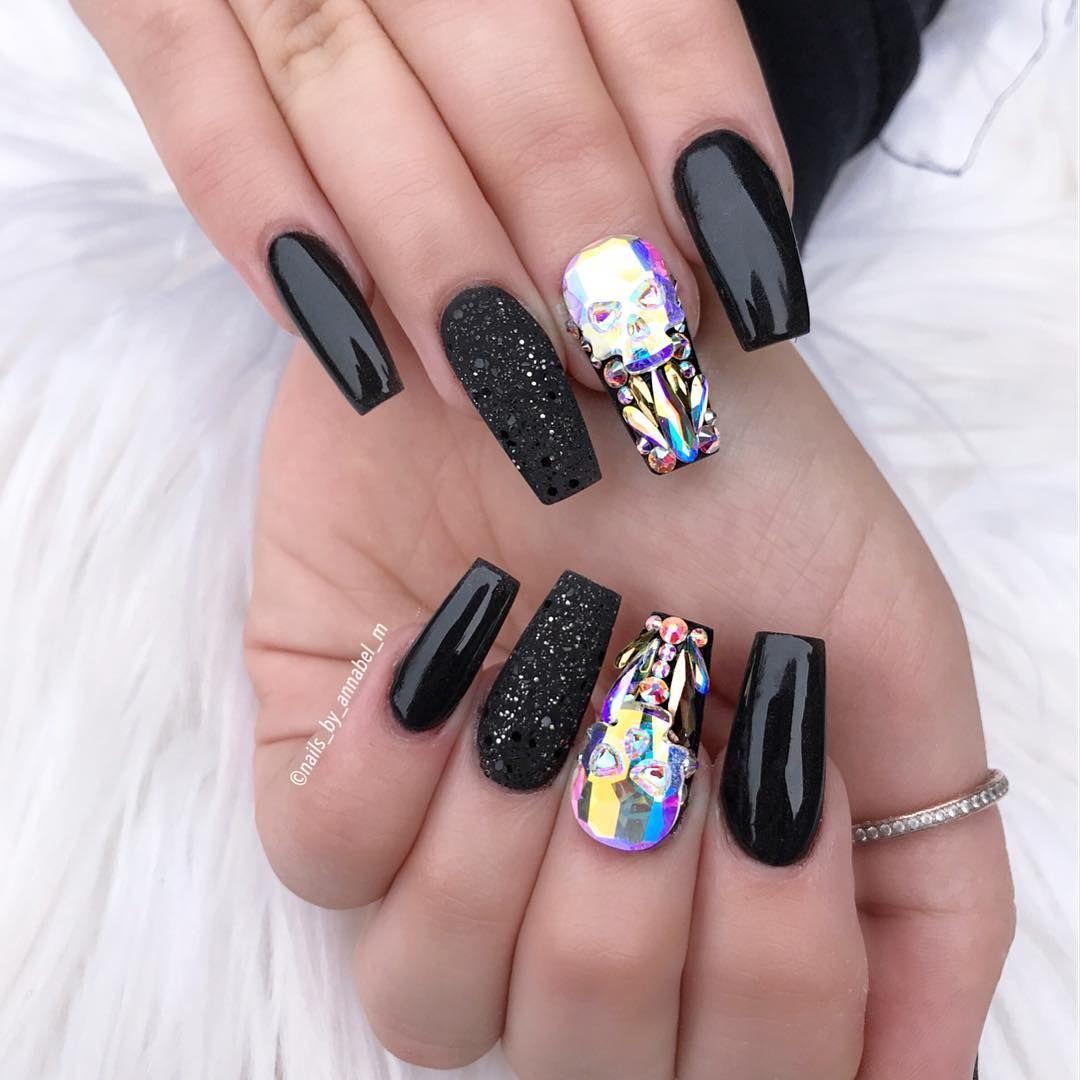 Skull Nails Using all Glamandglits :- •Diamond Acrylic - Black lace ...