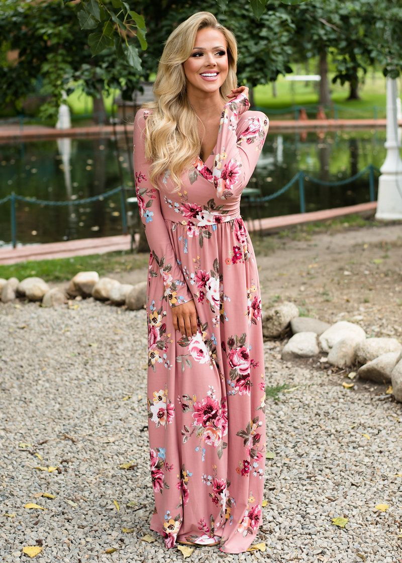 Floral Surplice Fit and Flared Maxi Mauve, Floral Maxi, Long Dress ...
