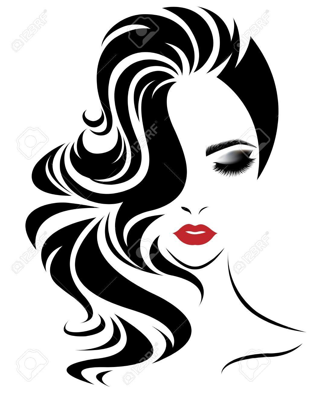 Illustration Of Women Long Hair Style Icon Logo Women Face On White Background Vector Ad Hair Style Long Hair Illustration Woman Face Silhouette Art