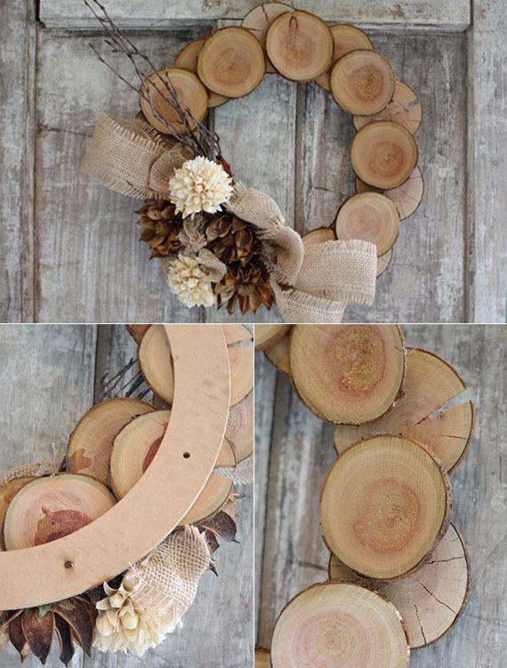 Wunderschöne und einfache Herbstdeko basteln #holzscheibendeko