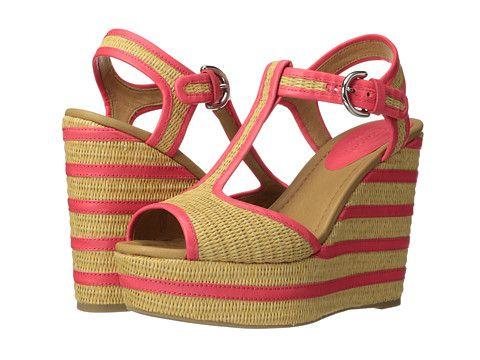 Womens Sandals COACH Geneva Natural Straw/Bright Coral Semi Matte Calf