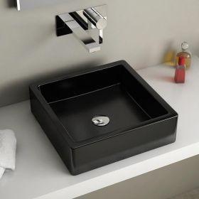 vasque poser carr e noire 40x40 cm c ramique pure