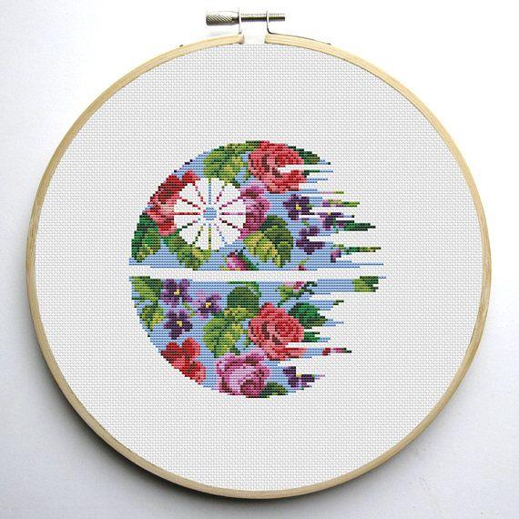 Star Wars Cross Stitch PDF pattern Floral Death Star   Crafts ...