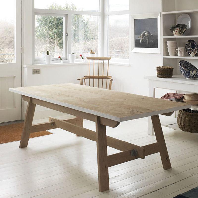 Picnic Table Dining Room: Welsh Oak Farmhouse Trestle Table