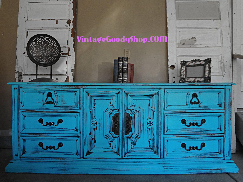 Uncategorized Turquoise Shabby Chic Furniture turquoise shabby chic 9 drawer dresser hollywood regency 425 00 via etsy
