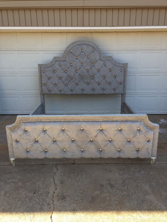 Tufted Bed Velvet King Queen Full Twin Daybed All Sizes Nailhead Trim Rhinestone Crystal On By Custom Order