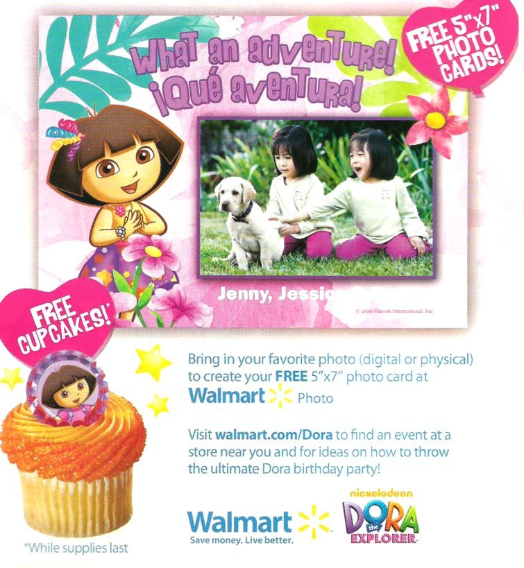 waltmart birthday invintations.com | ... ! Come celebrate Dora's Birthday with FREE Cupcakes & Photo Cards