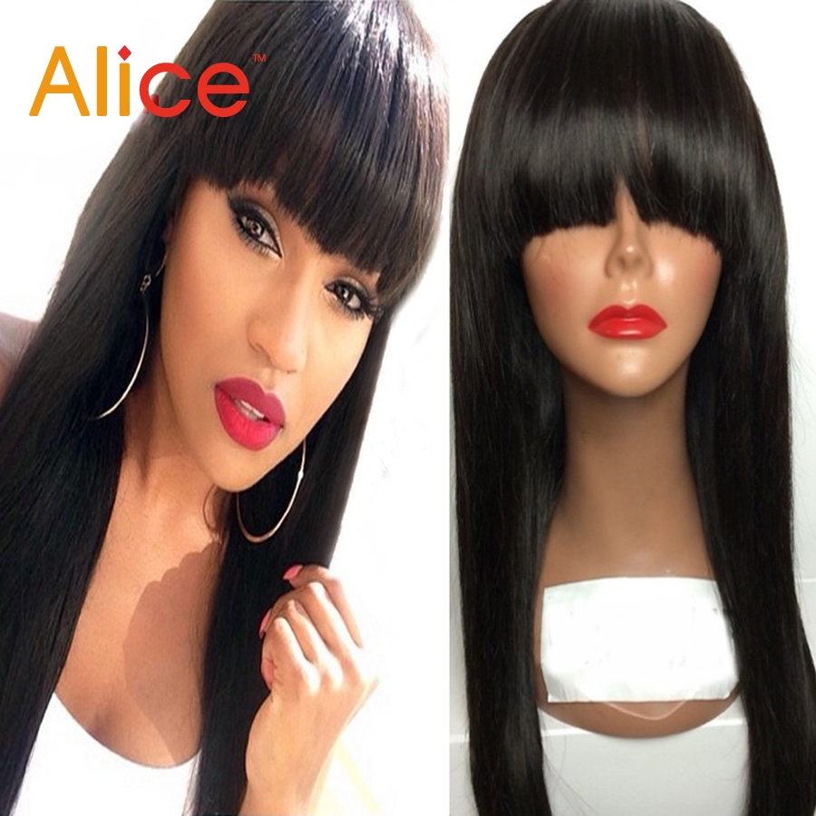 76.00$  Watch here - http://alixl5.worldwells.pw/go.php?t=32659396119 - Long Straight Brazilian Lace Front Wigs With Bangs Glueless Front Lace Front Human Hair Wigs Black Women 8a Virgin Brazilian Wig