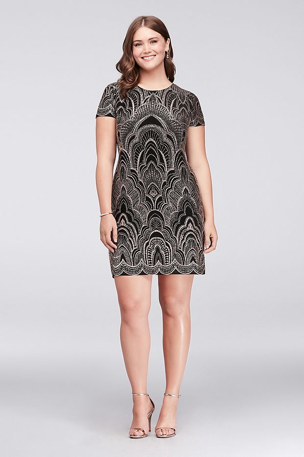 Topped With A Glitter Motif This Slinky Cap Sleeve Plus Size Dress