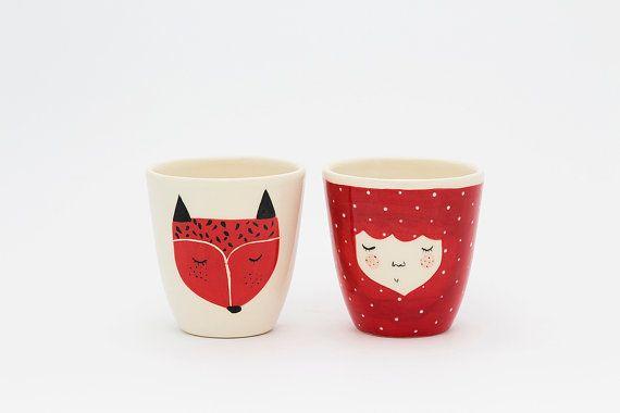 Set of 2  Handmade ceramic cup  Fox ceramic by MarinskiHeartmades