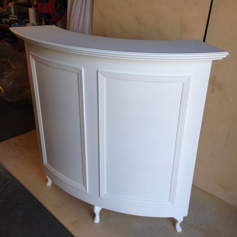 curved salon reception desk french style shabby chic. Black Bedroom Furniture Sets. Home Design Ideas