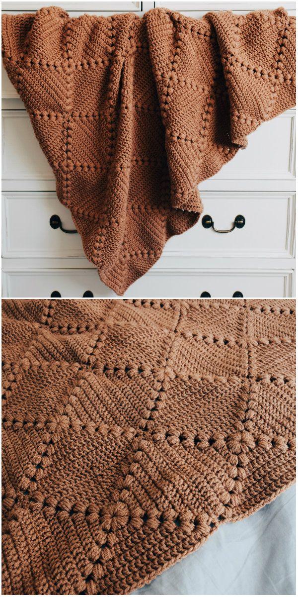 Farmhouse Granny Square Blanket Crochet #grannysquares