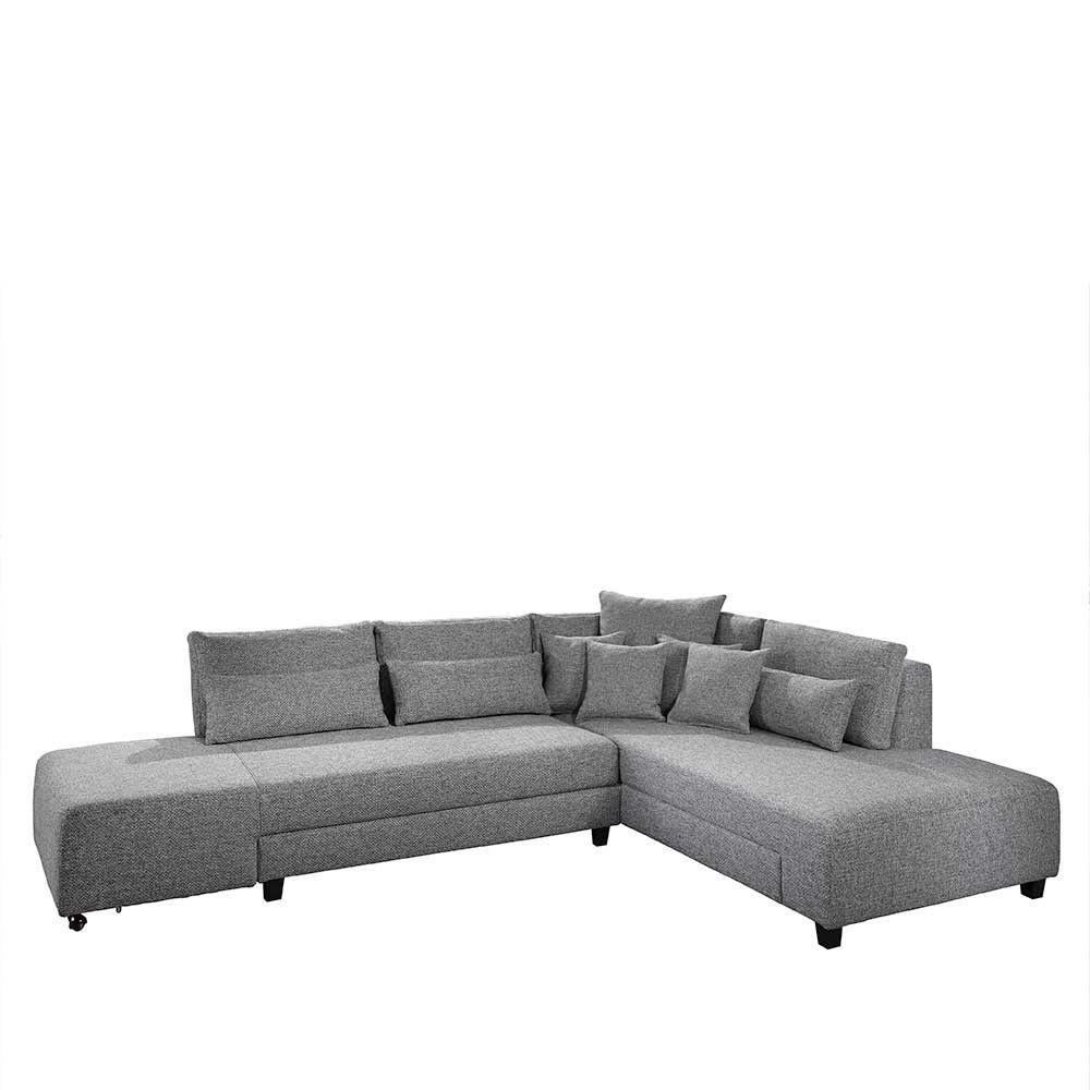 Federkern Eckcouch Mit Schlaffunktion 5 Sitzplatzen In Grau Roseanna Couch Wohnen Haus