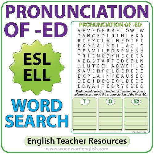 ED Pronunciation - English Word Search | Aprender inglés ...