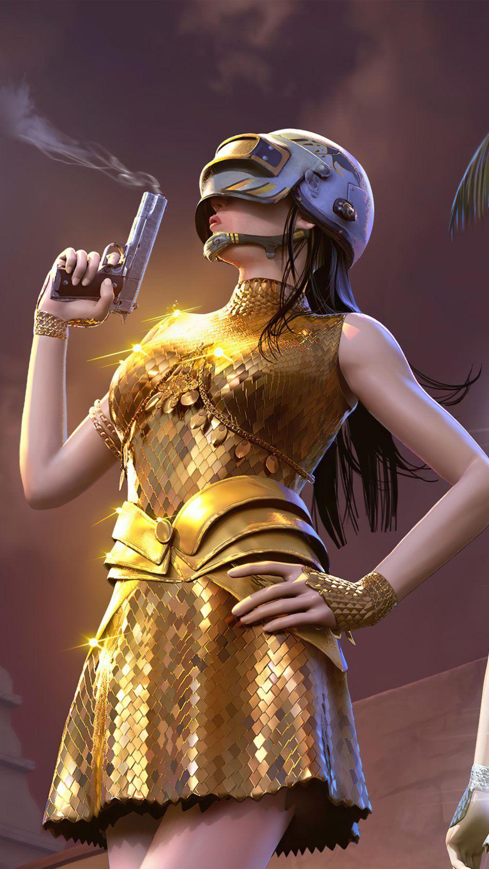 PUBG Girl Golden Dress 4K Ultra HD Mobile Wallpaper in