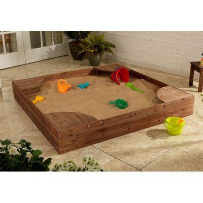 KidKraft Backyard 5' Square Sandbox with Cover | Backyard ...