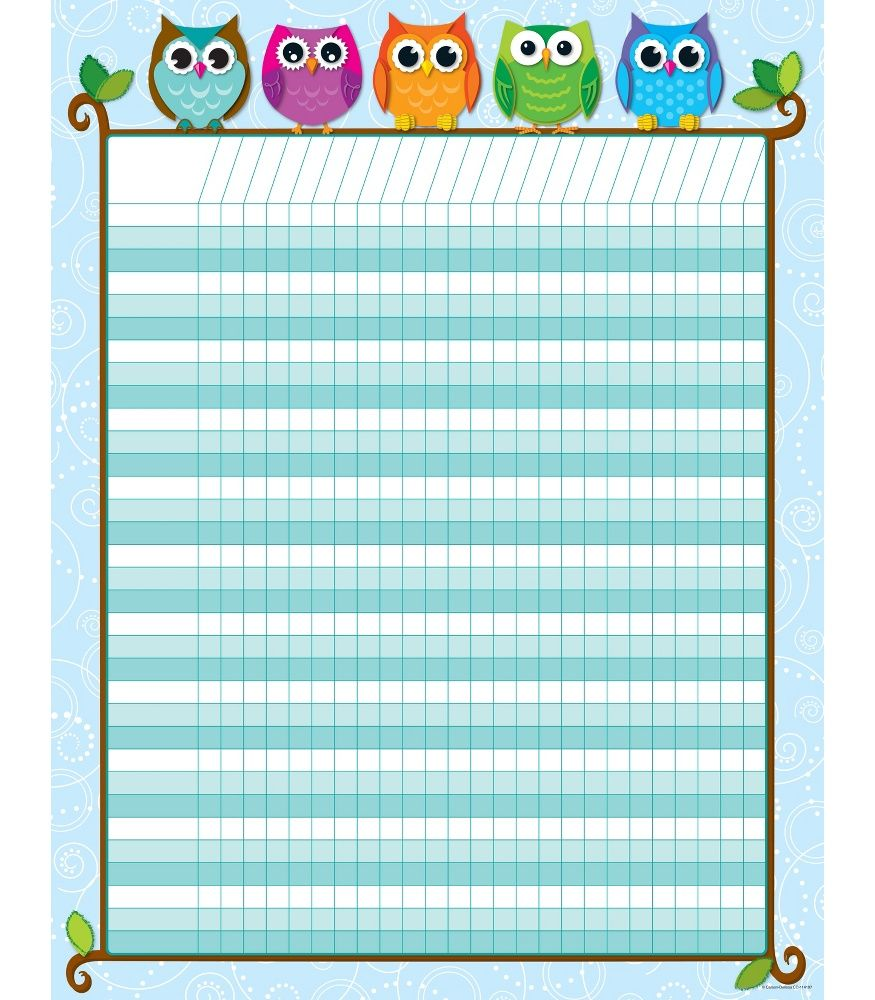 Classroom Decor Charts : Colorful owls incentive chart classroom d�cor from