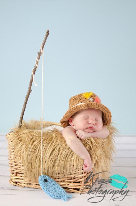 9dcf656cd56c9 Newborn Fishing Hat - Baby Boy Fisherman Hat and Fish Set - Newborn ...