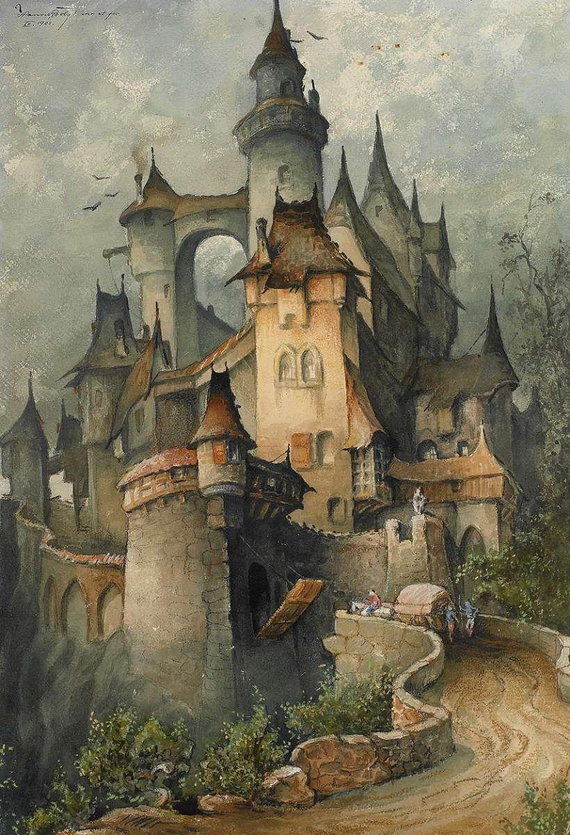 Hanns Bolz 1885 1980 Dessin Chateau Les Arts Chateau Fantastique
