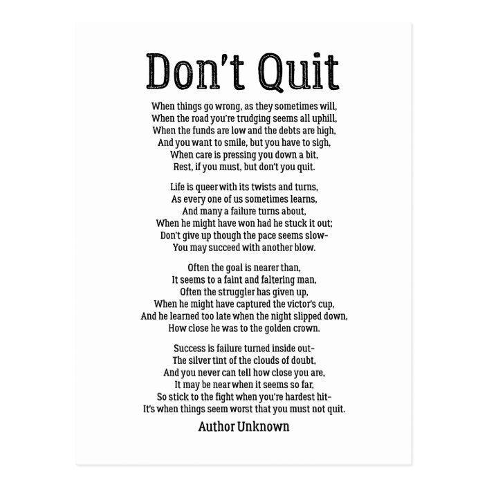 Don't Quit - Powerful Motivational Poem Postcard |