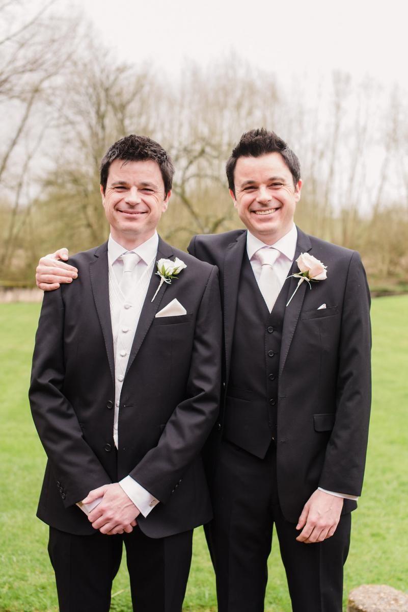 The groom with his twin brother #NotleyAbbey #BijouWeddingVenues #BijouRealWedding #HollywoodGlamour #Twins #Weddingtwins