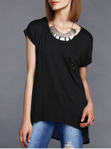 $16.55 Round Neck High Low Hem Stud Embellished Long T-Shirt