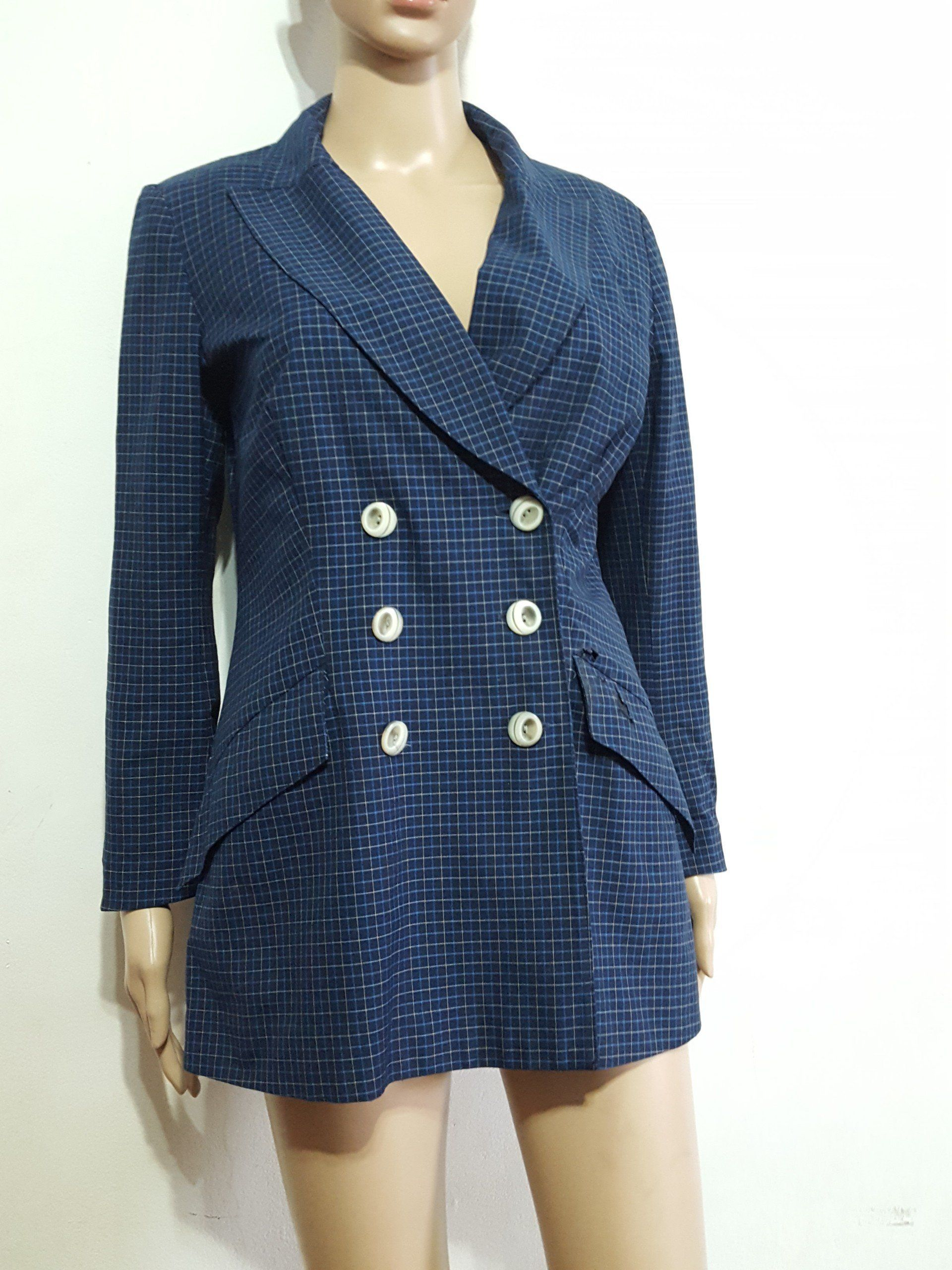 c7b53a84ff Anna Sui Double Breasted Plaid Blazer Size 8 | Products | Plaid ...