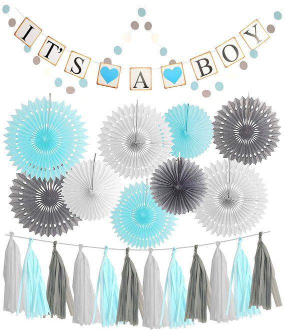 Boy   baby shower decoration blue grey paper fan it  banner circle garland tassel for also rh pinterest